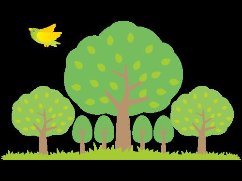 森の木と小鳥
